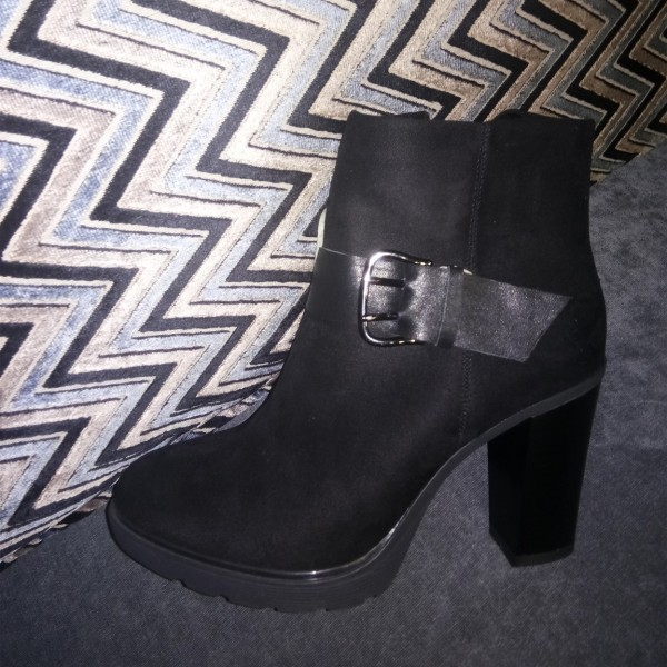 Black Buckle Almond Toe Block Heels Ankle Boots image 1
