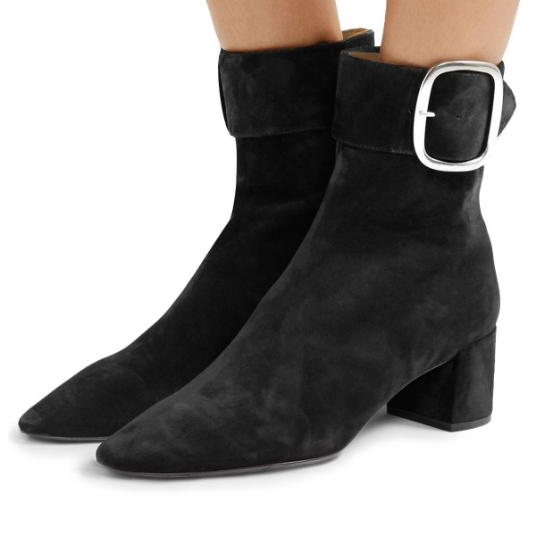 Black Buckle Chunky Heel Boots Ankle Boots image 1