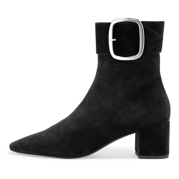 Black Buckle Chunky Heel Boots Ankle Boots image 2