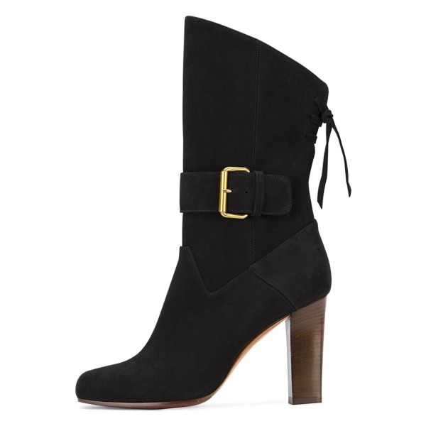 Black Suede Square Toe Boots Back Lace up Chunky Heel Mid Calf Boots image 3