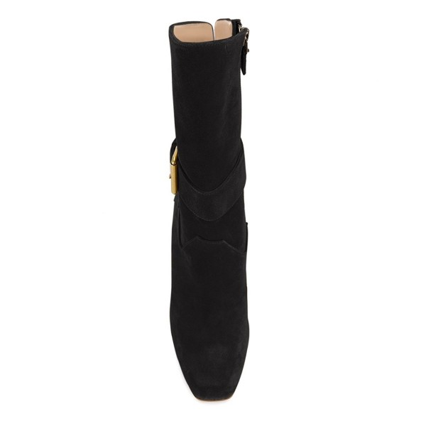 Black Suede Square Toe Boots Back Lace up Chunky Heel Mid Calf Boots image 2