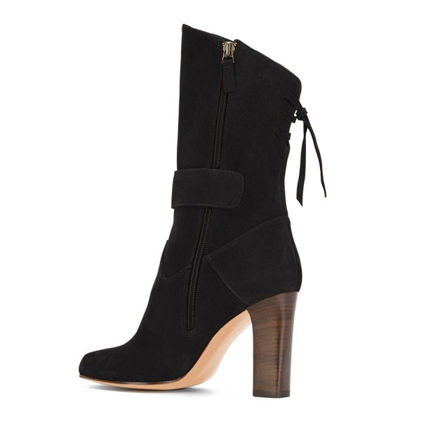 Black Suede Square Toe Boots Back Lace up Chunky Heel Mid Calf Boots image 4