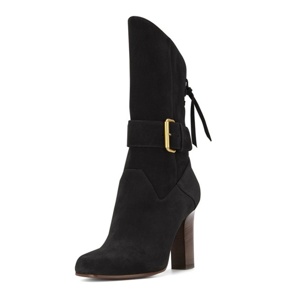 Black Suede Square Toe Boots Back Lace up Chunky Heel Mid Calf Boots image 1