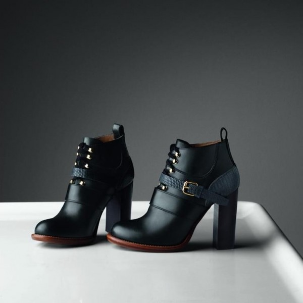 Black Buckle Lace Up Chunky Heel Boots image 1