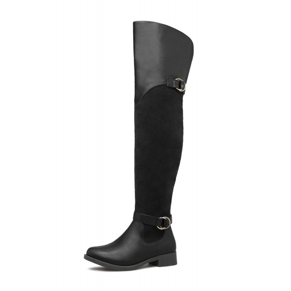 Black Buckle Long Boots Round Toe Flat Over-the-Knee Boots image 2