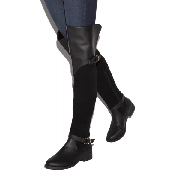 Black Buckle Long Boots Round Toe Flat Over-the-Knee Boots image 1
