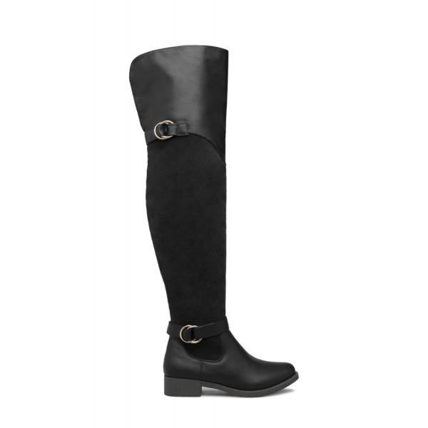 Black Buckle Long Boots Round Toe Flat Over-the-Knee Boots image 3
