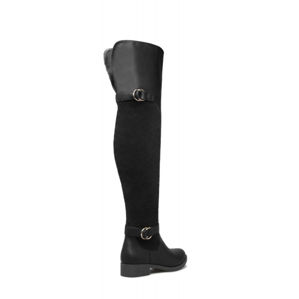 Black Buckle Long Boots Round Toe Flat Over-the-Knee Boots image 4