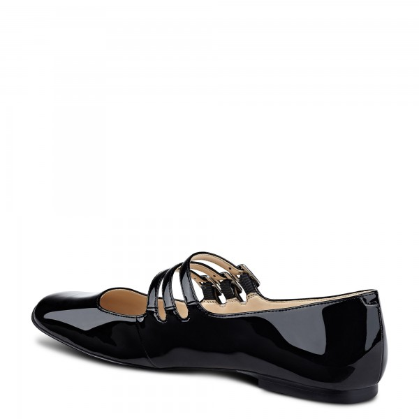 Black Buckle Mary Jane Shoes Patent Leather Square Toe Flats Shoes image 2