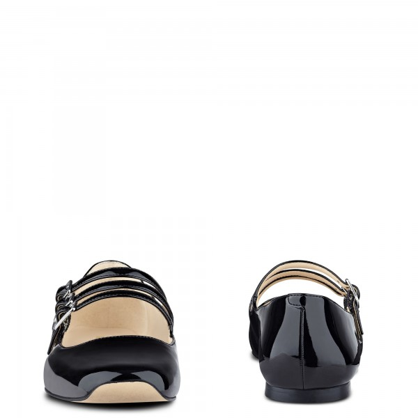 Black Buckle Mary Jane Shoes Patent Leather Square Toe Flats Shoes image 3