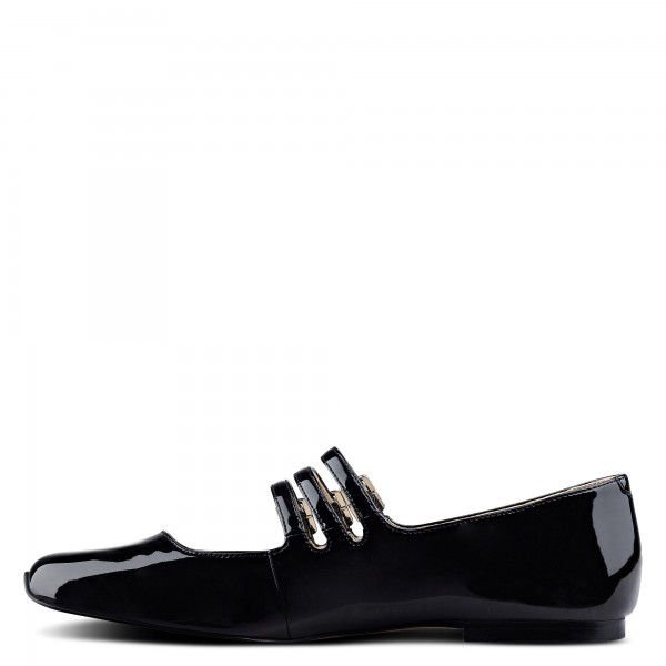 Black Buckle Mary Jane Shoes Patent Leather Square Toe Flats Shoes image 1