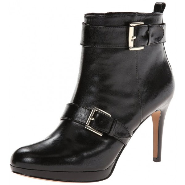 Black Buckle Platform Boots Fashion Almond Toe Ankle Boots  image 1