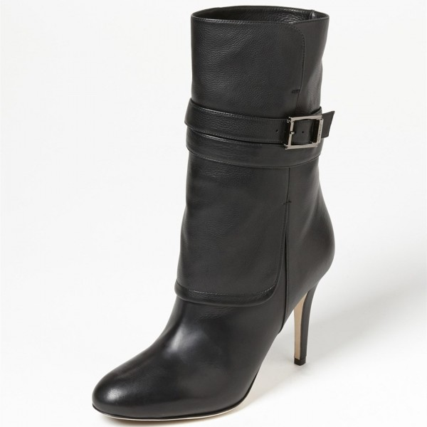 Black Buckle Stiletto Heels Ankle Boots Round Toe Comfortable Booties image 1