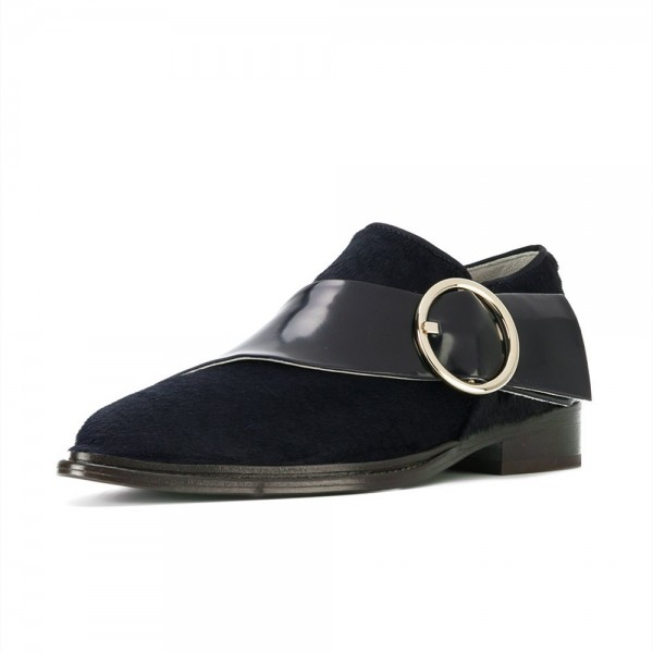 Black Buckle Style Loafers for Women