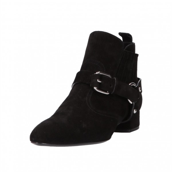 Black Buckles Fashion Boots Block Heel Suede Ankle Booties image 1