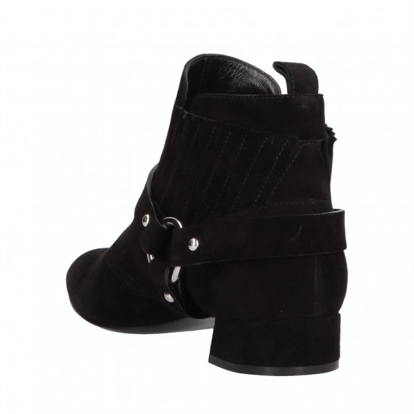 Black Buckles Fashion Boots Block Heel Suede Ankle Booties image 2