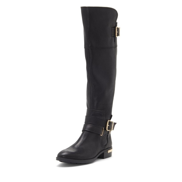 Black Buckles Flat Knee Boots image 1