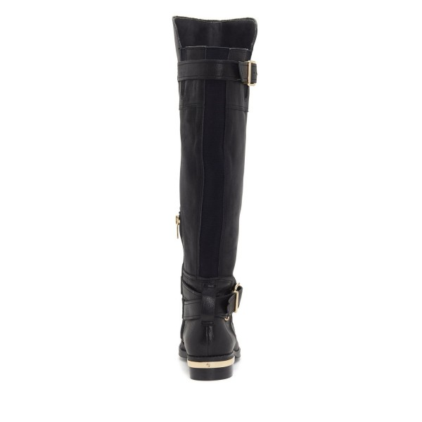 Black Buckles Flat Knee Boots image 2