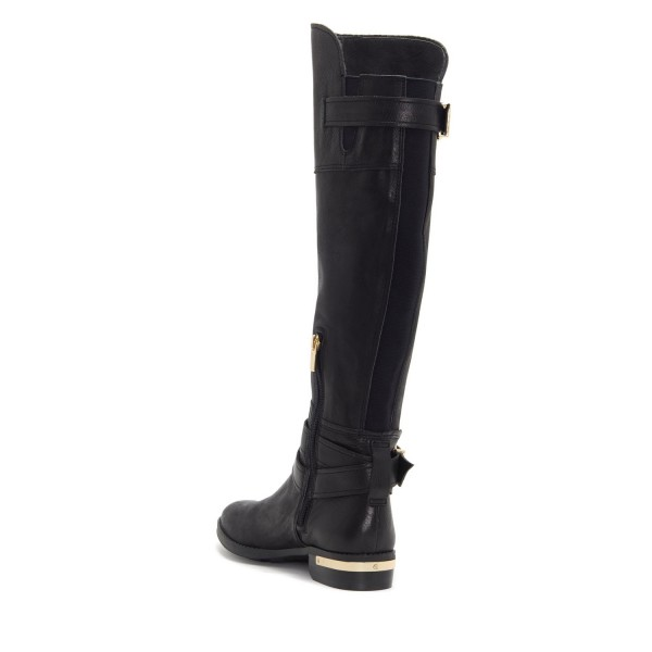 Black Buckles Flat Knee Boots image 5