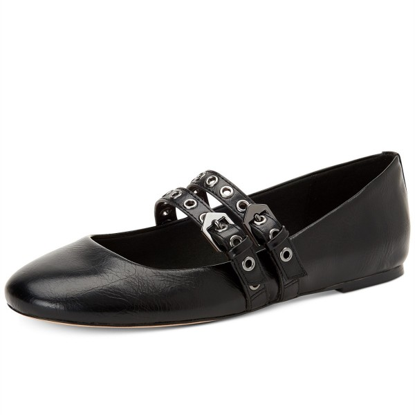 Black Buckles Mary Jane Shoes Round Toe Flats School Shoes image 1