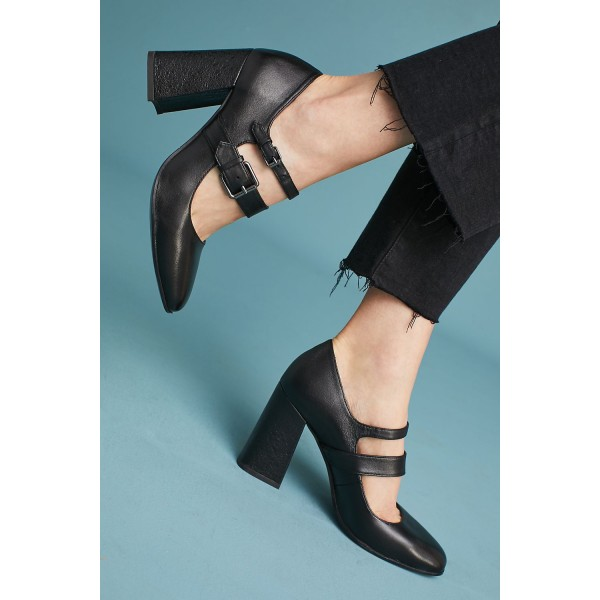 Womens Block Med Heels Square Toe Buckle T-strap Mary Jane Shoes Plus Size Solid