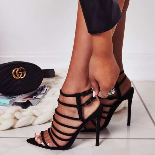 Black Buckles Strappy Sandals Open Toe Stiletto Heels for Women image 1