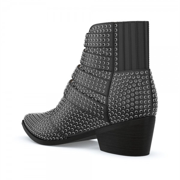 Black Buckles Studs Fashion Boots Block Heel Ankle Boots image 2