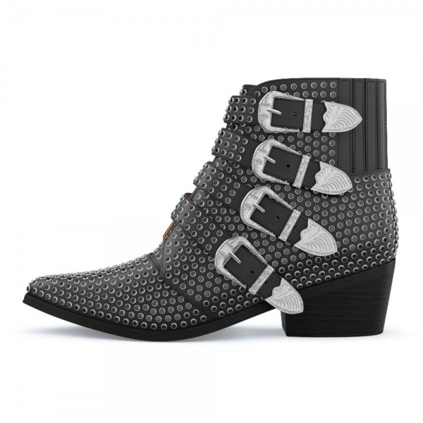 Black Buckles Studs Fashion Boots Block Heel Ankle Boots image 3