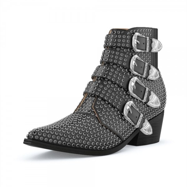 Black Buckles Studs Fashion Boots Block Heel Ankle Boots image 1