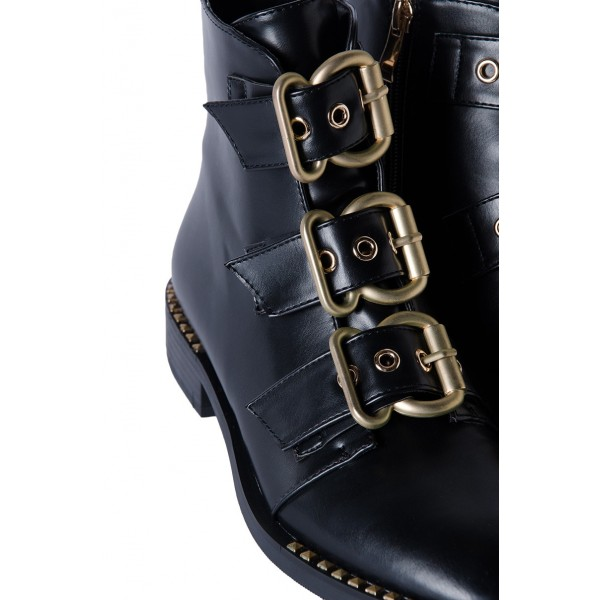 Black Buckles Studdedd Boots Fashion Round Toe Flat Ankle Booties image 3