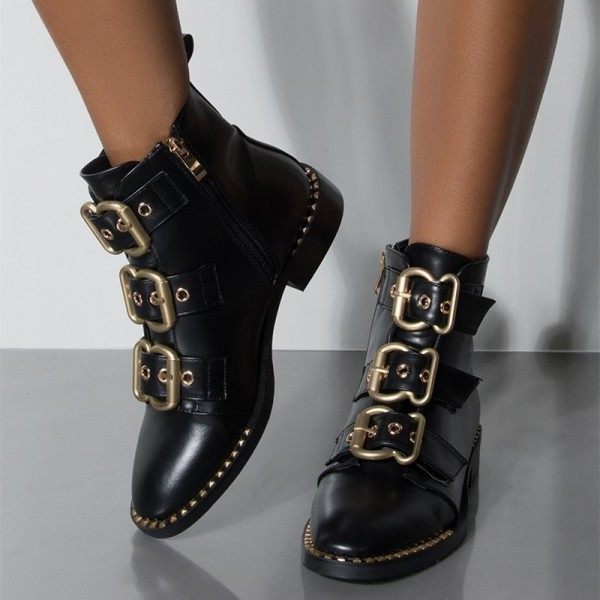 Black Buckles Studdedd Boots Fashion Round Toe Flat Ankle Booties image 1