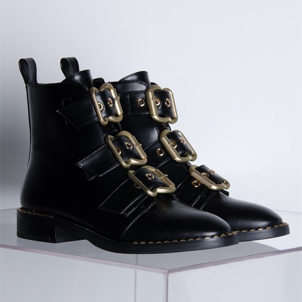 Black Buckles Studdedd Boots Fashion Round Toe Flat Ankle Booties image 2