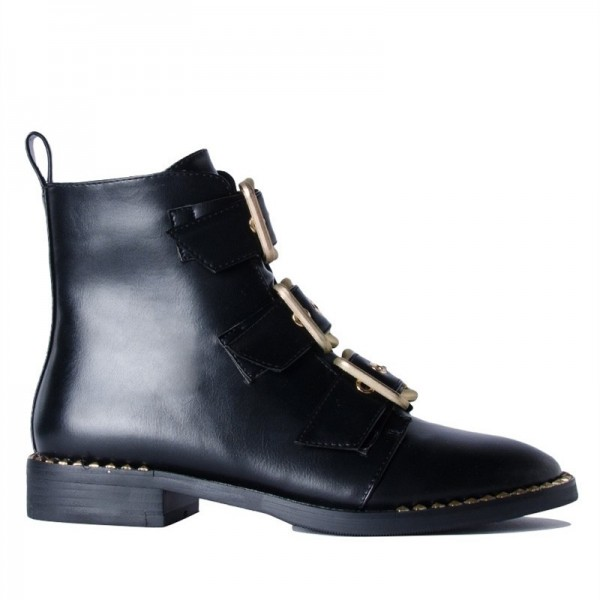 Black Buckles Studdedd Boots Fashion Round Toe Flat Ankle Booties image 4