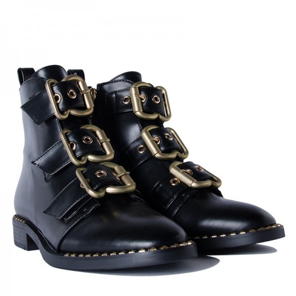 Black Buckles Studdedd Boots Fashion Round Toe Flat Ankle Booties image 5