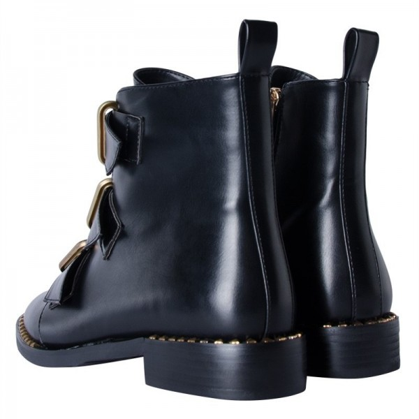 Black Buckles Studdedd Boots Fashion Round Toe Flat Ankle Booties image 6