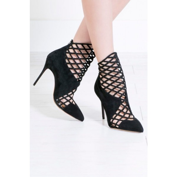 Black Caged Cut out Ankle Booties Pointy Toe Stilettos Summer Boots image 2