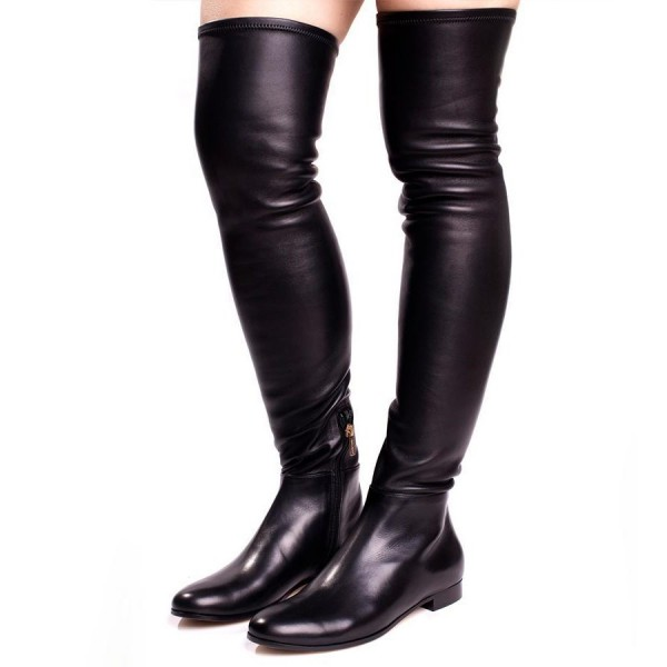 Black Casual Boots Knee Over Flat Boots Round Toe Comfortable Boots image 1
