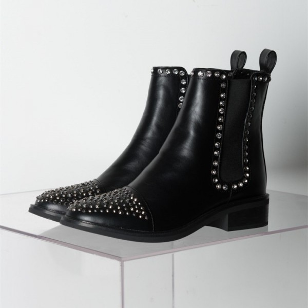 Black Chelsea Boots Rhinestone Ankle Boots image 4