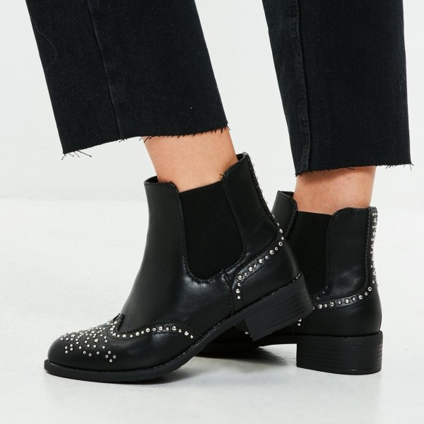 Black Wingtip Boots Round Toe Studs Flat Chelsea Boots image 1