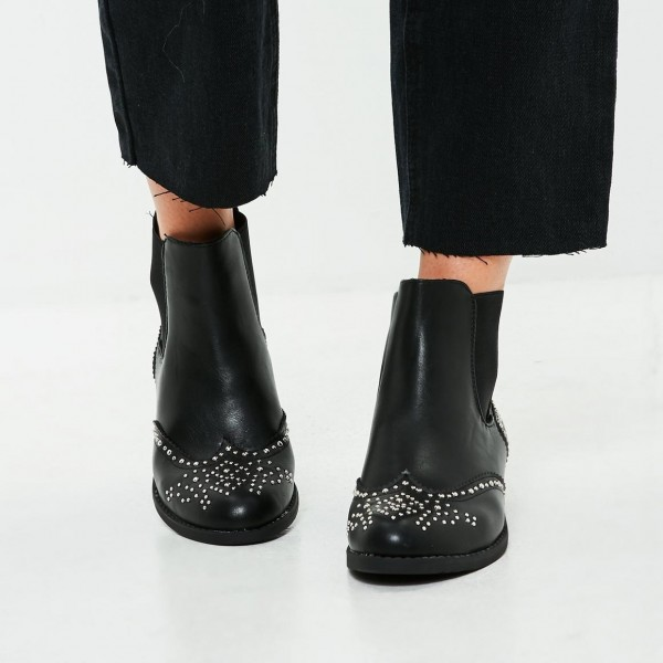 Black Wingtip Boots Round Toe Studs Flat Chelsea Boots image 2