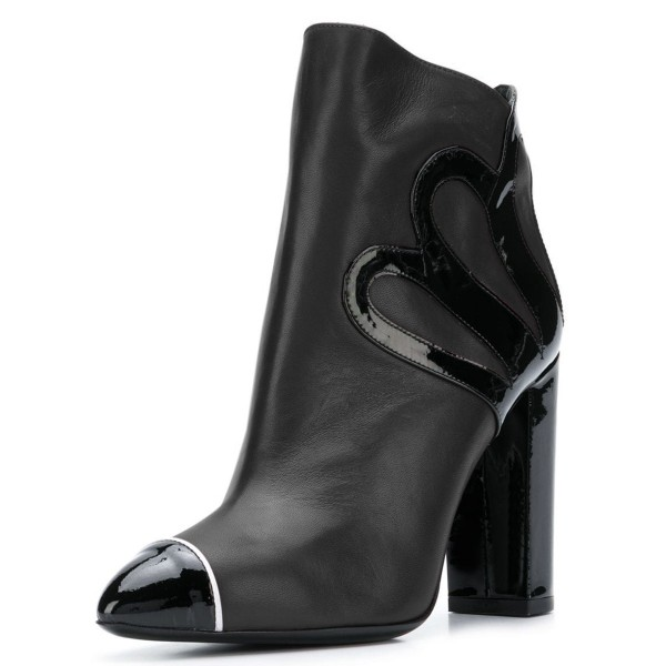 Black Chunky Heel Boots Fashion Ankle Booties image 3