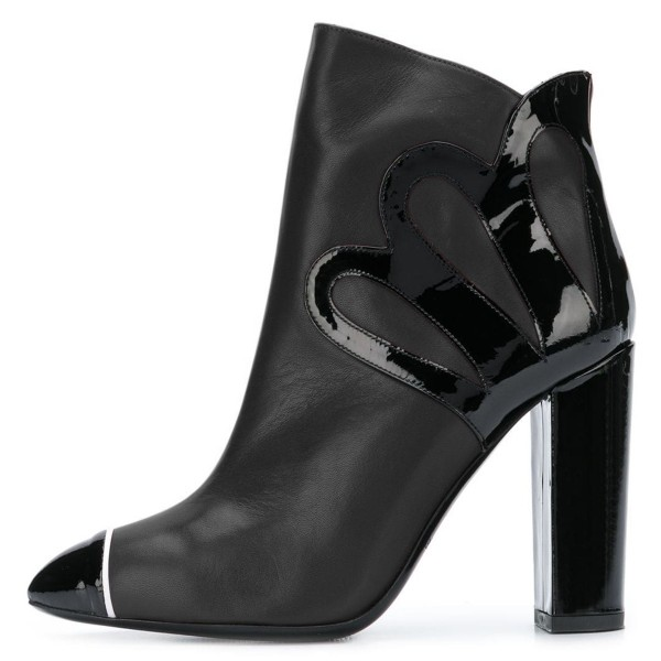 Black Chunky Heel Boots Fashion Ankle Booties image 1