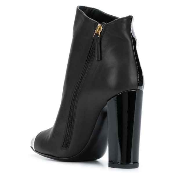 Black Chunky Heel Boots Fashion Ankle Booties image 4
