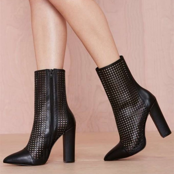 Black Chunky Heel Boots Hollow Out Pointy Toe Ankle Boots image 1