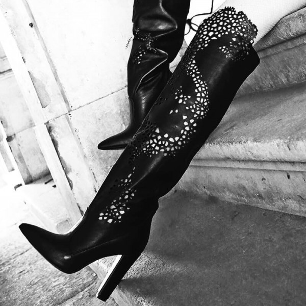 Black Chunky Heel Boots Hollow Out Pointy Toe Over the Knee Boots image 4