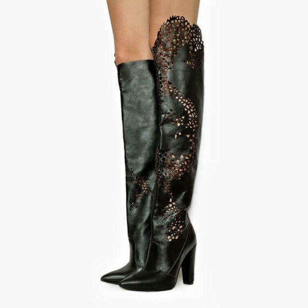 Black Chunky Heel Boots Hollow Out Pointy Toe Over the Knee Boots image 1