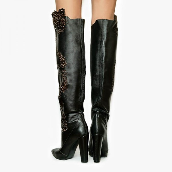 Black Chunky Heel Boots Hollow Out Pointy Toe Over the Knee Boots image 5