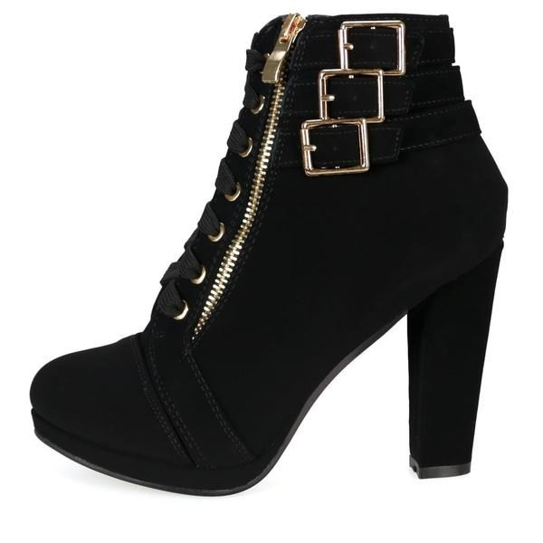 Black Buckle Boots Chunky Heel Front Lace up Ankle Boots image 1