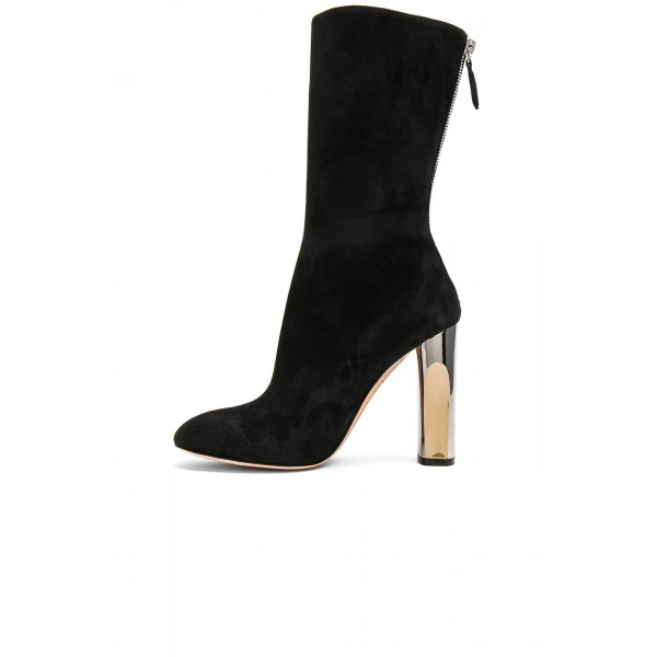 Black Chunky Heel Boots Mid Calf Boots image 3