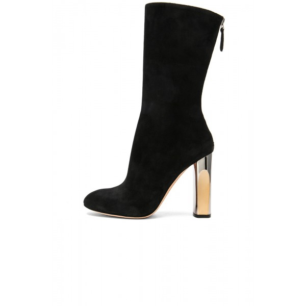 Black Chunky Heel Boots Mid Calf Boots image 2